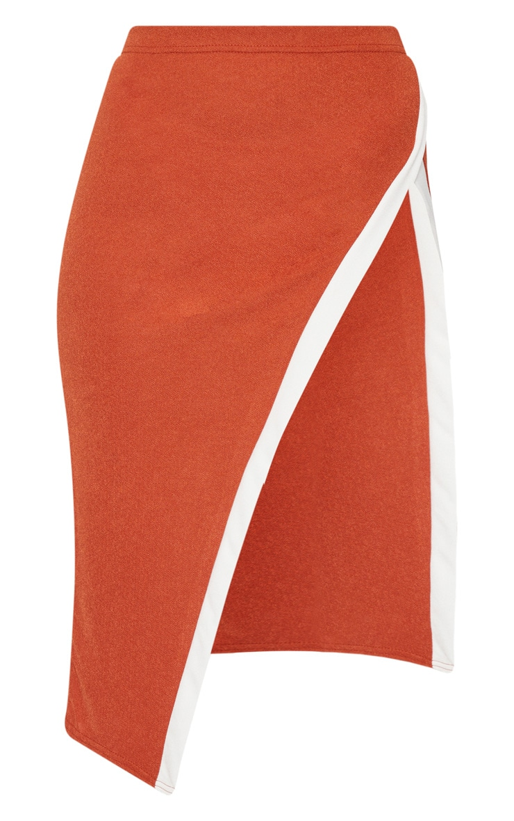 Orange Contrast Midi Skirt 3