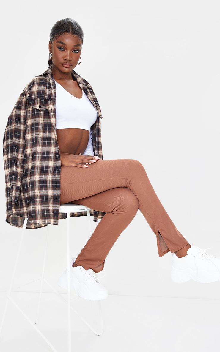 Tall Chocolate Ribbed Skinny Split Hem Trousers 1