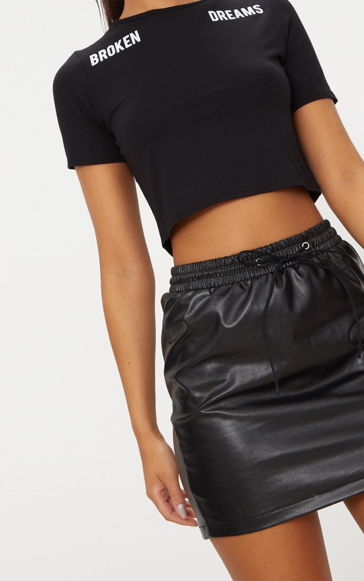 Black PU Draw String Mini Skirt  6
