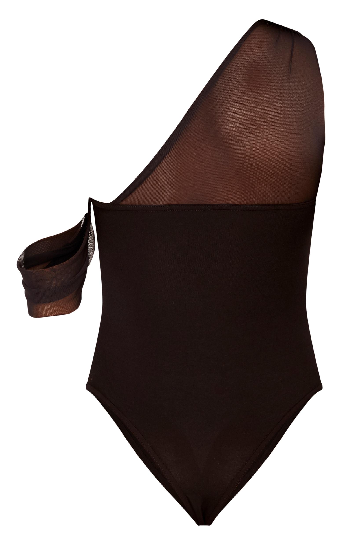 Alisse Black Mesh One Shoulder Thong Bodysuit 4