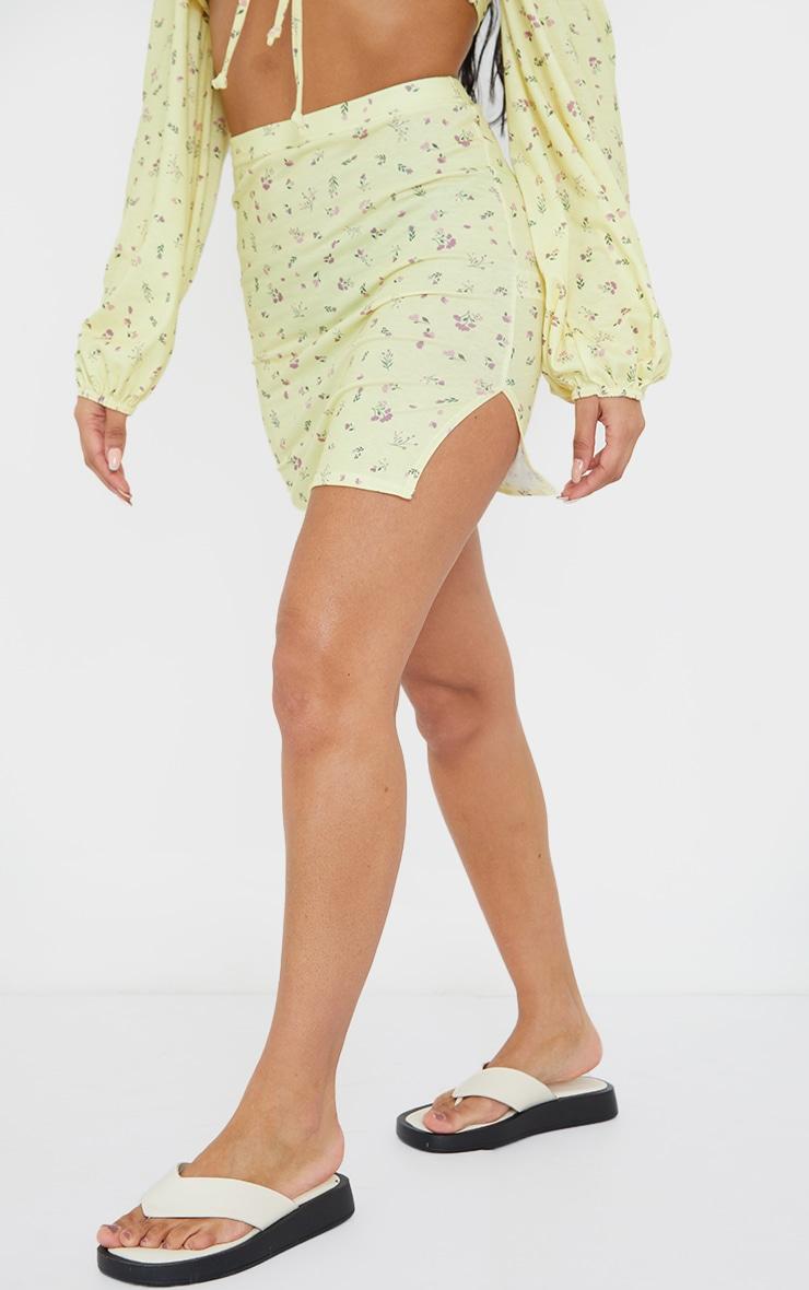 Yellow Ditsy Floral Print Split Hem Mini Skirt 2