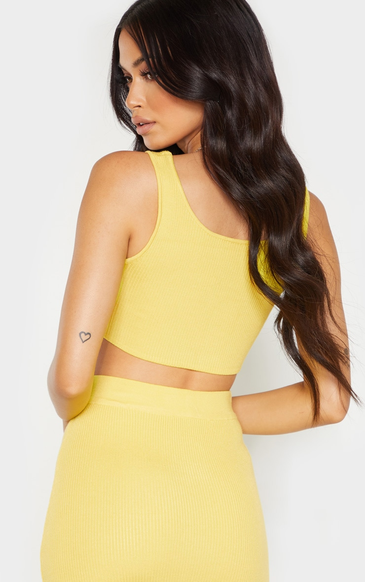 Yellow Knitted Ribbed Co Ord  2