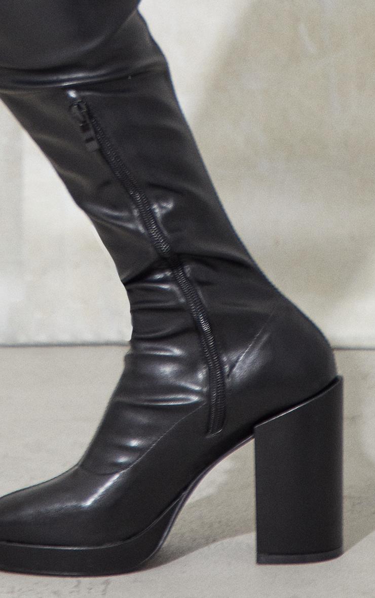 Black PU Round Toe Platform Over The Knee Block Heel Boots 4