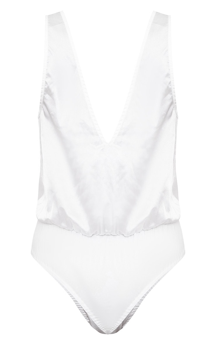 Cream Lace Insert Plunge Thong Bodysuit  4