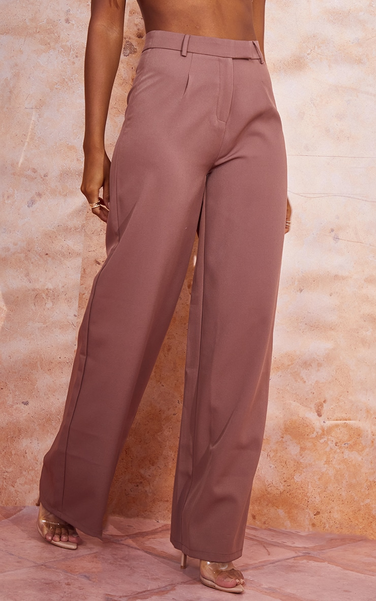 Dusty Brown Woven Tailored Wide Leg Trousers 2