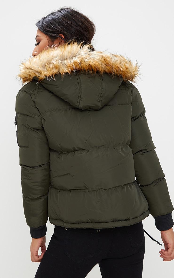 Khaki Puffer Jacket with Faux Fur Hood 2