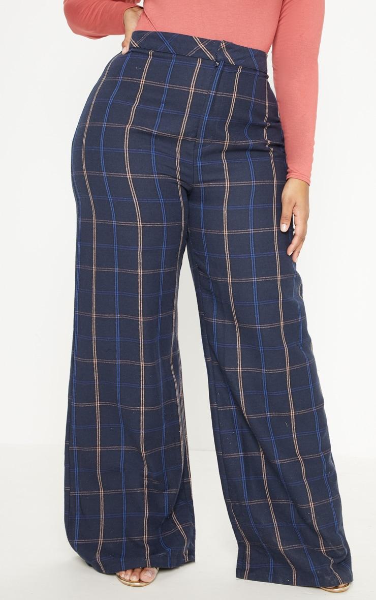 Plus Navy Check Wide Leg Trouser 2