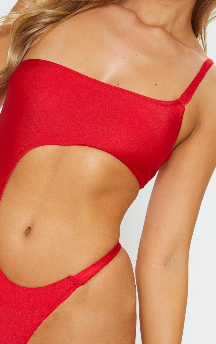 Red Cut Out Mini Swimsuit 5
