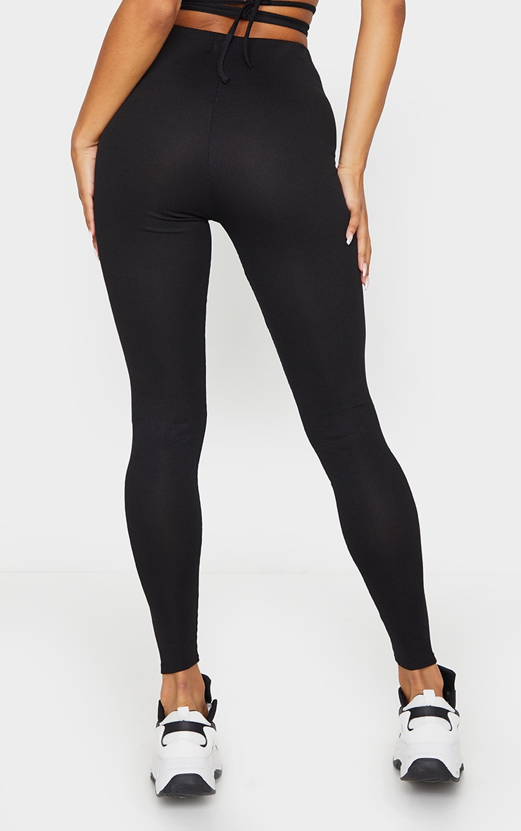 Black Tie Waist Detail Ribbed Leggings 3