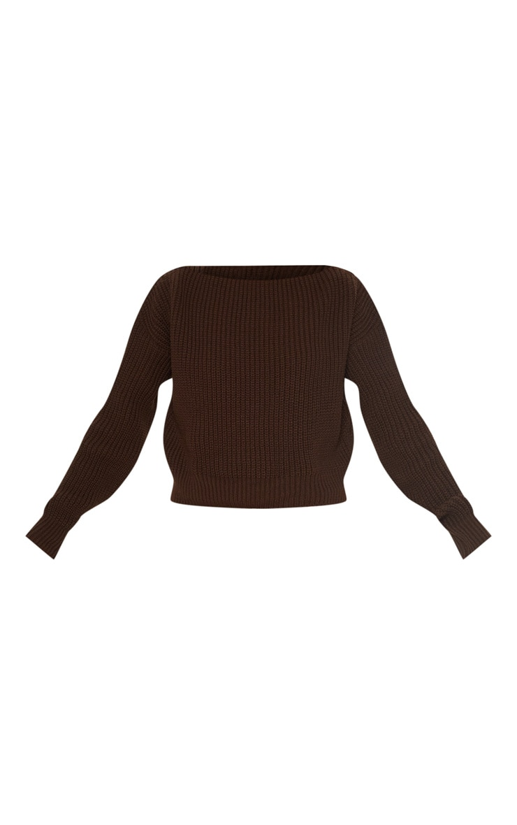 Brown Slash Neck Crop Knitted Jumper  3