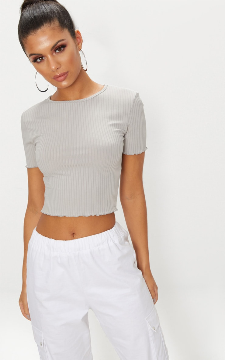 Grey Rib Frill Detail Crop T Shirt 1