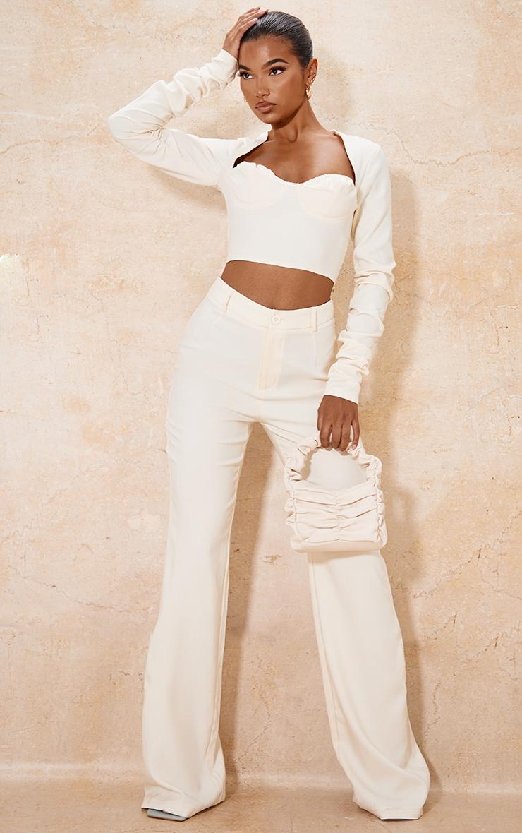 Cream Woven High Waist Tailored Trousers 1