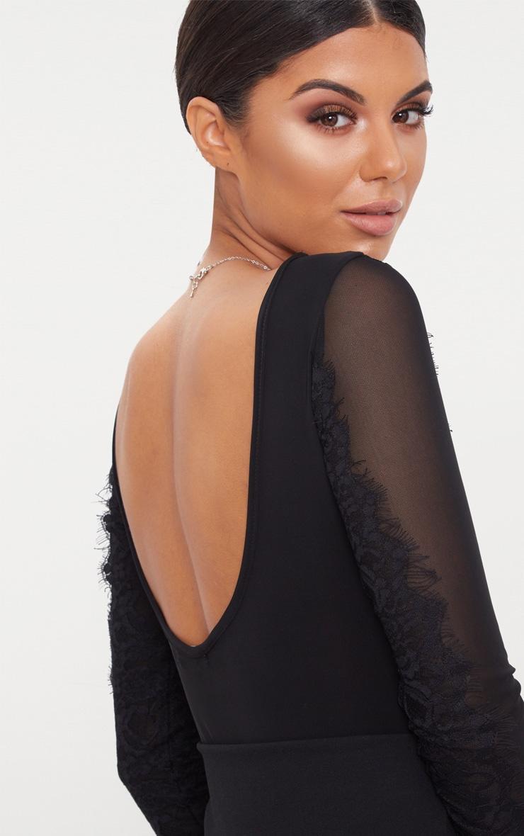 Black Eyelash Lace Trim Slinky Long Sleeve Thong Bodysuit 6