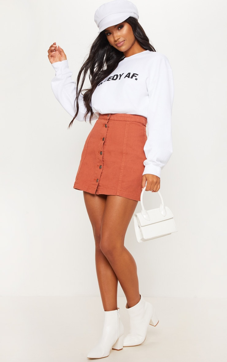 Tobacco Cammie Button Through Denim Skirt 4