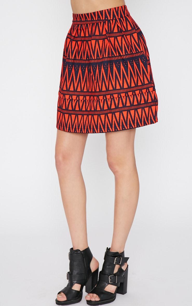 Clemence Red Aztec Swing Skirt 3