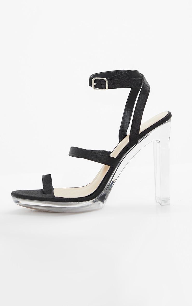Black Clear Toe Loop Platform Sandal 4