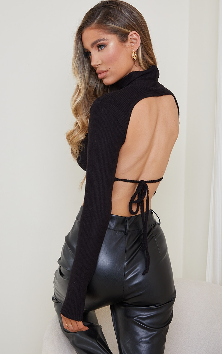 Black Brushed Rib High Neck Backless Tie Crop Top 2