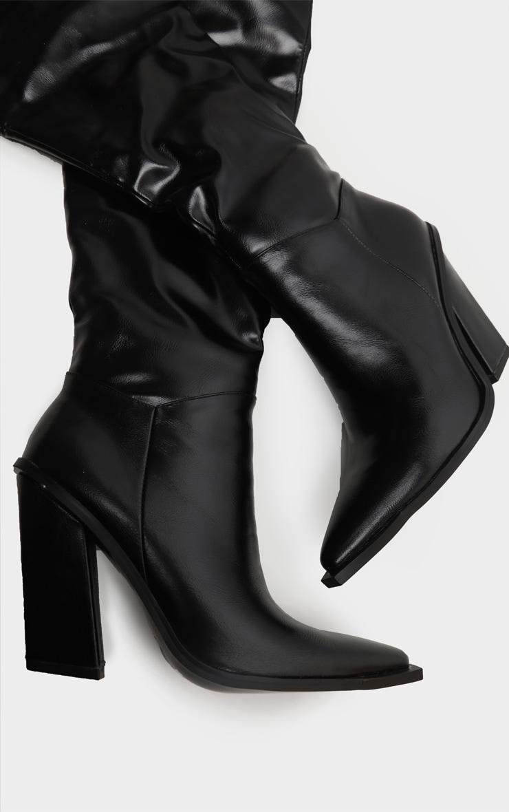 Black Borg Cuff Thigh High Boot 3