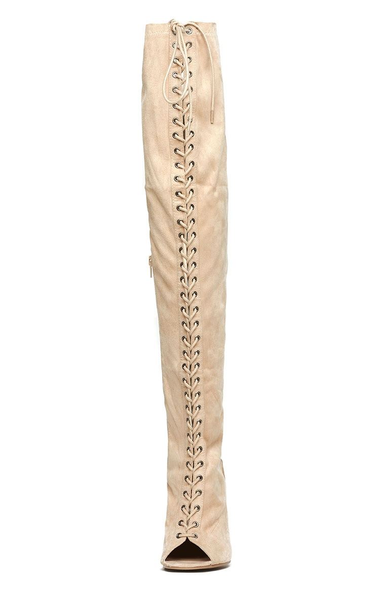 Valentina Nude Suede Lace Up Thigh Boots 7