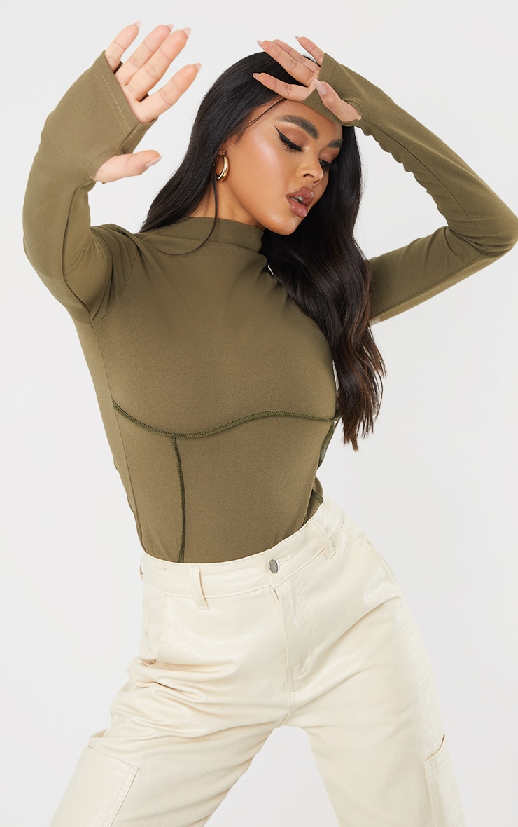 Khaki High Neck Underbust Seam Detail Long Sleeve Bodysuit 1