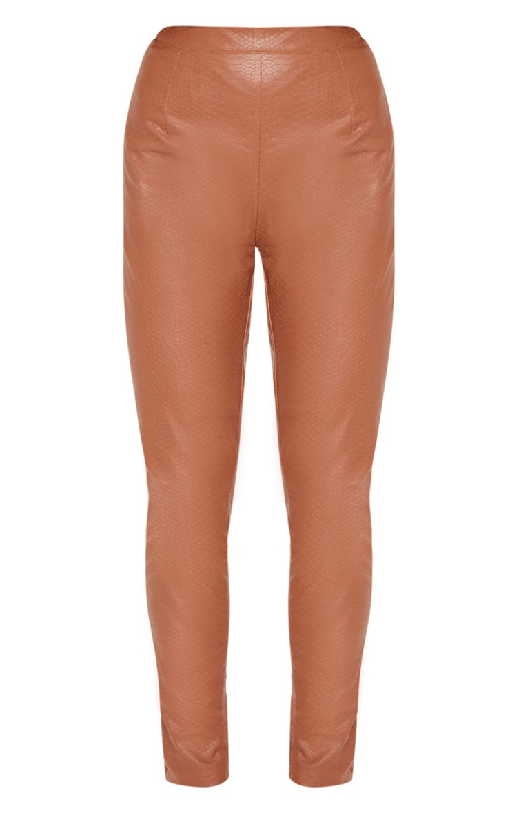 Tan Faux Leather Embossed Snakeskin Skinny Trouser 3