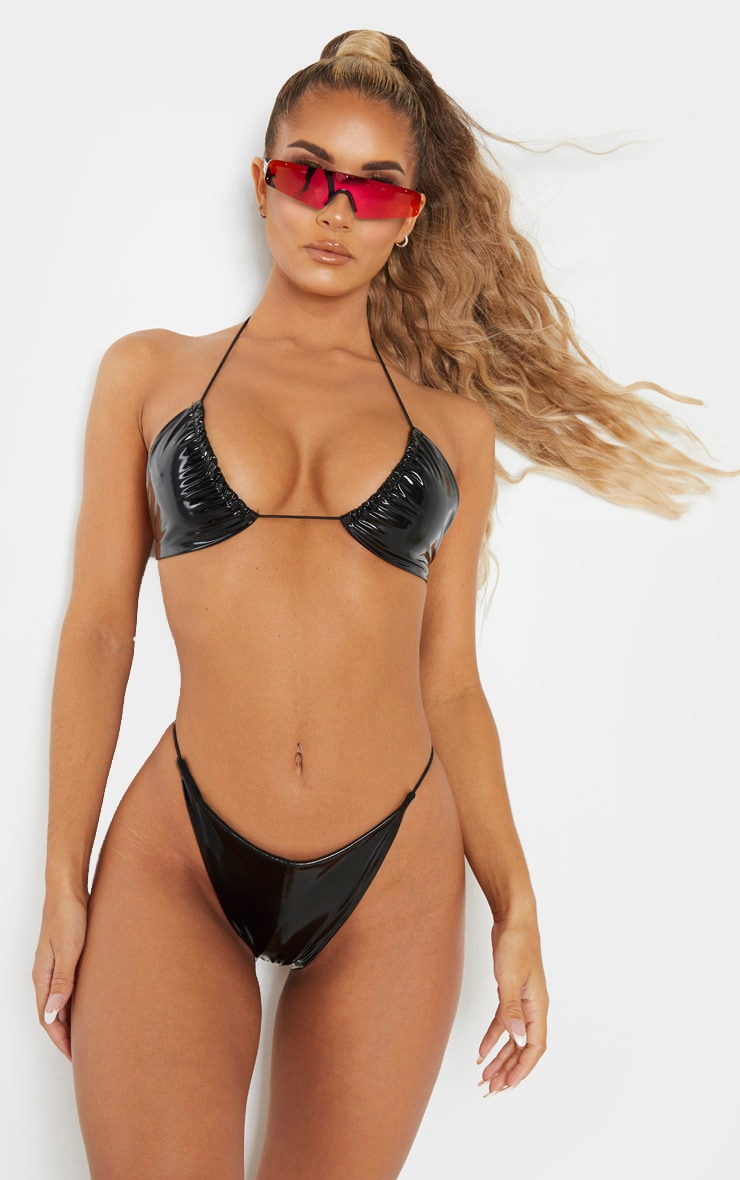 Black Vinyl Elasticated Strap Triangle Bikini Top 1