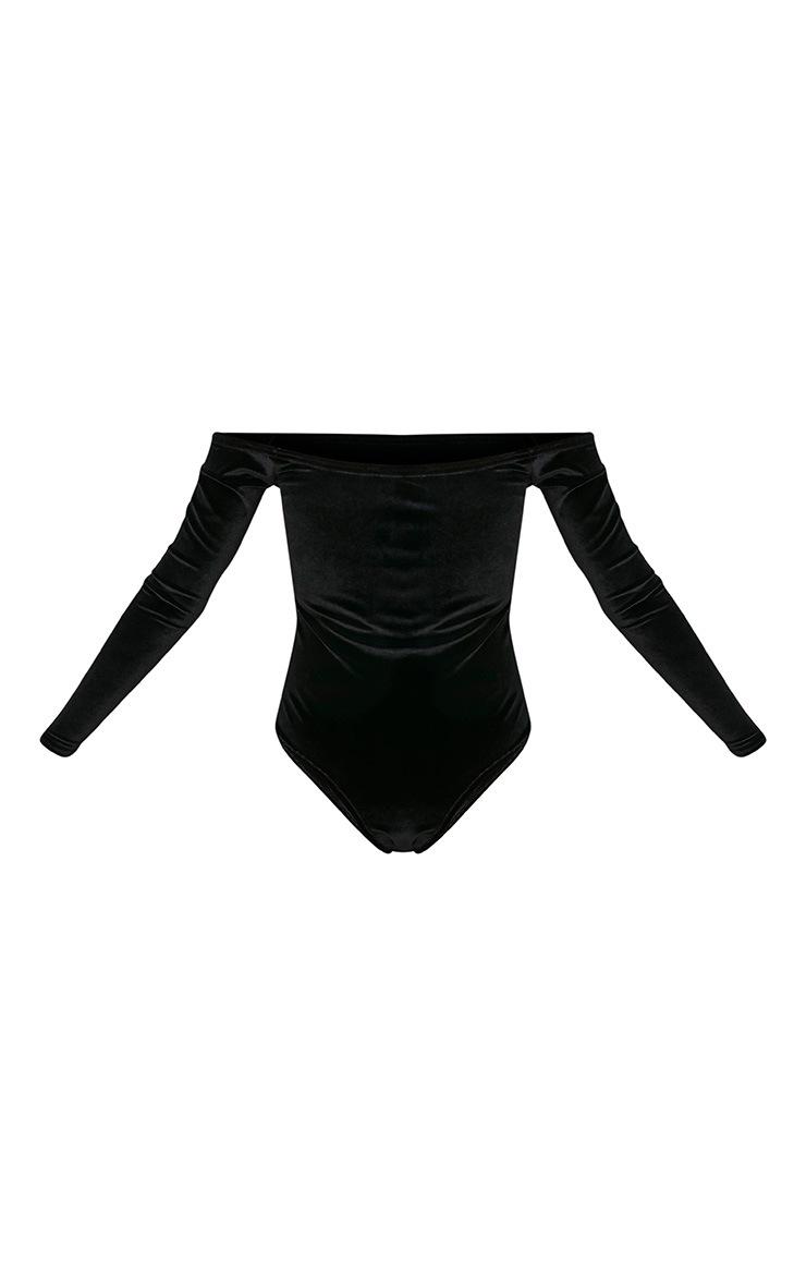 Willa body-string bardot noir en velours à manches longues 4