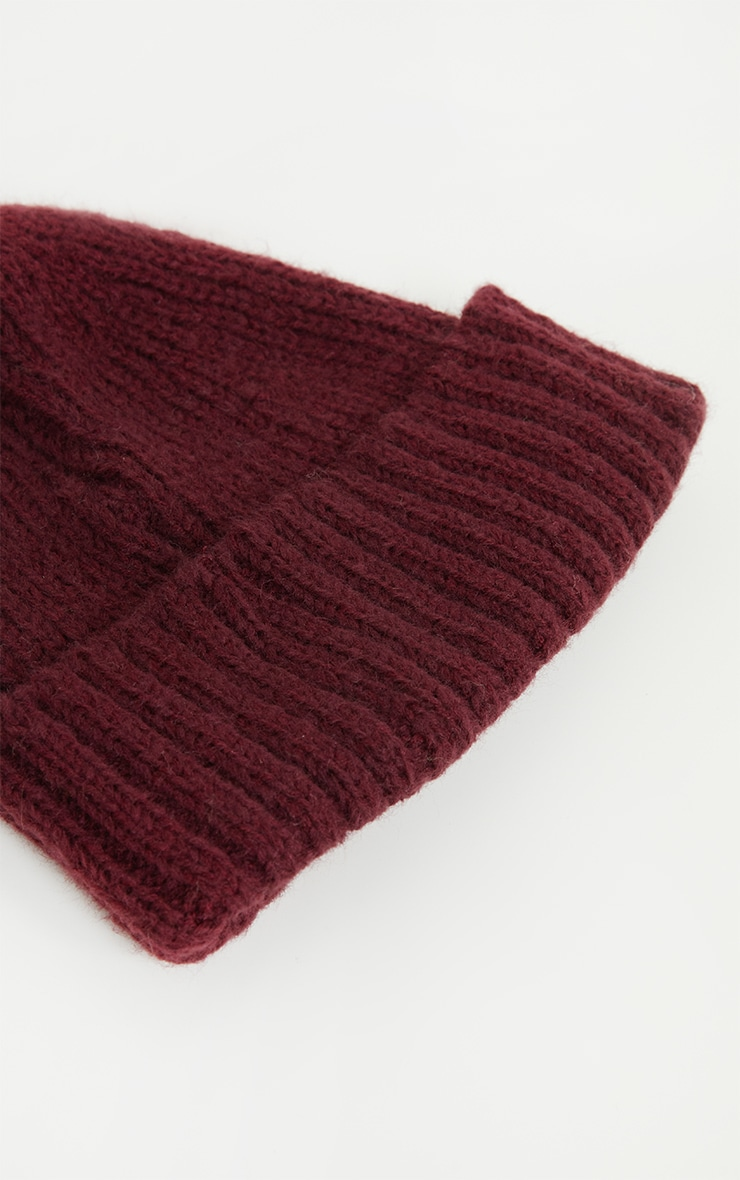 Burgundy Ribbed Knitted Beanie 3