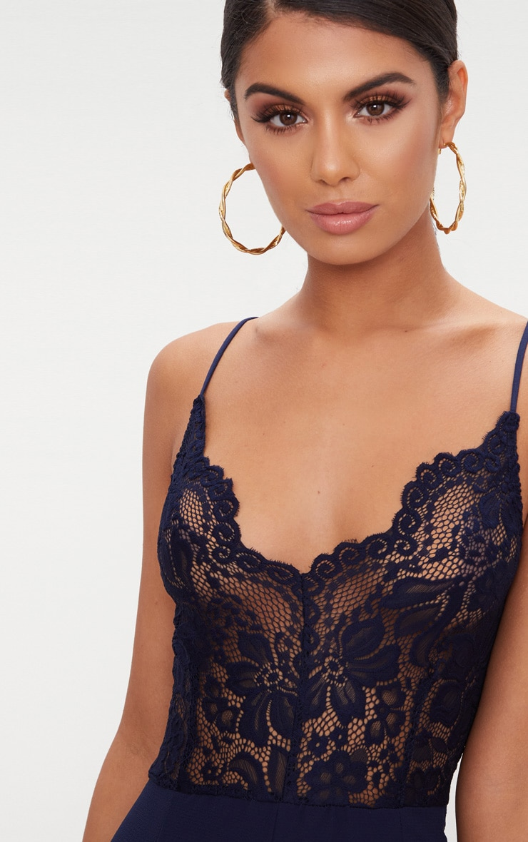 Navy Lace Wide Leg Jumpsuit 5