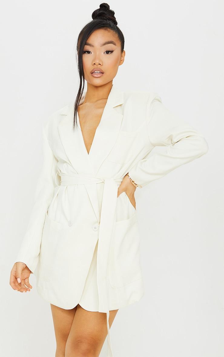 Petite Cream Wrap Detail Blazer Dress