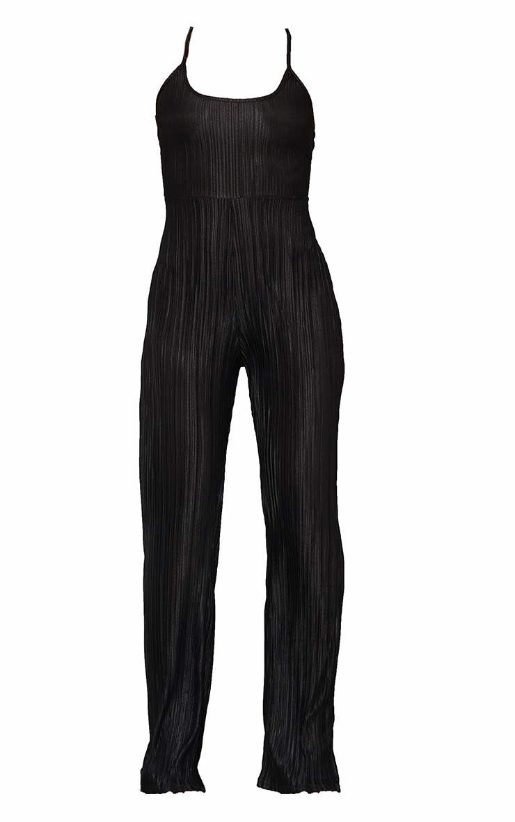 Black Plisse Lace Up Back Jumpsuit 5