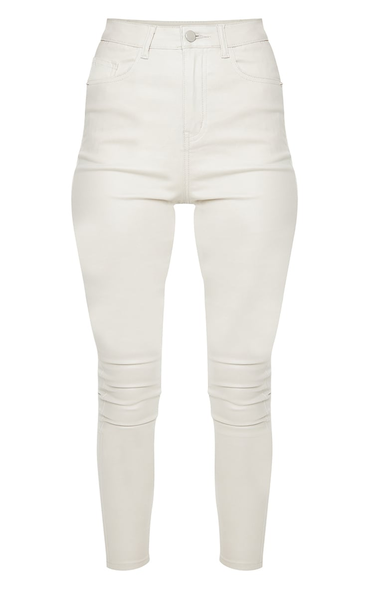 Jean skinny crème enduit 5