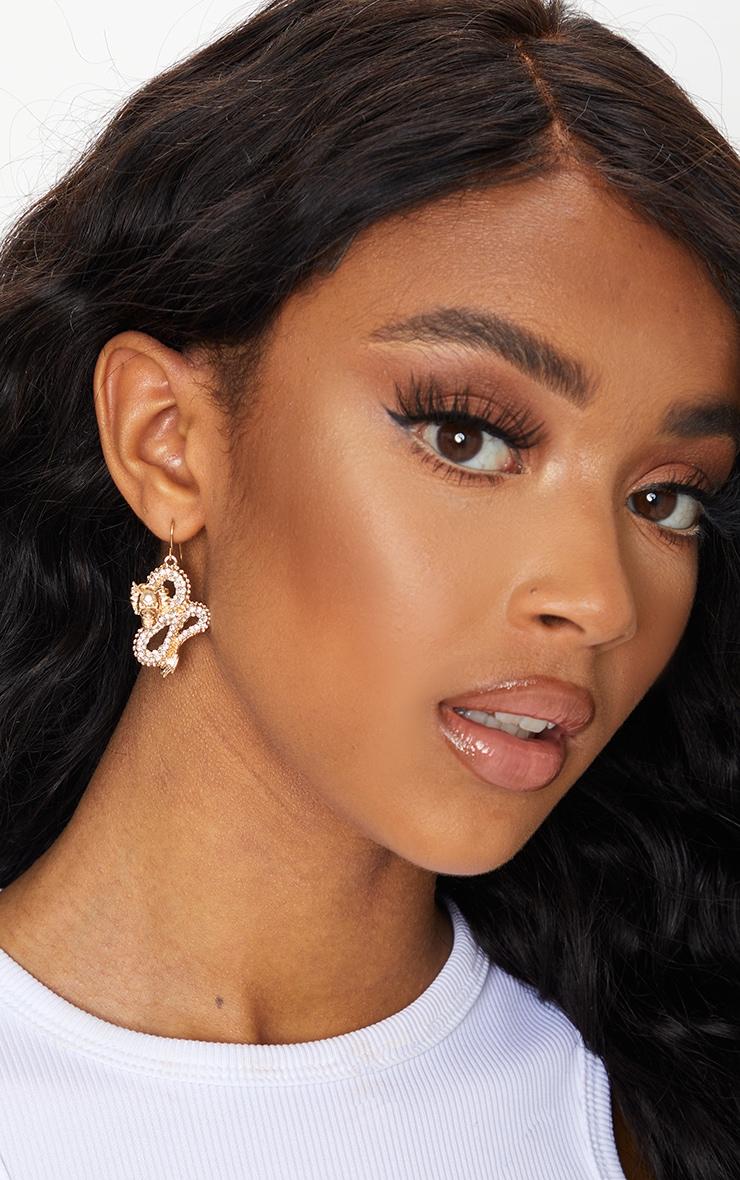 Gold Diamante Dragon Statement Earrings 1