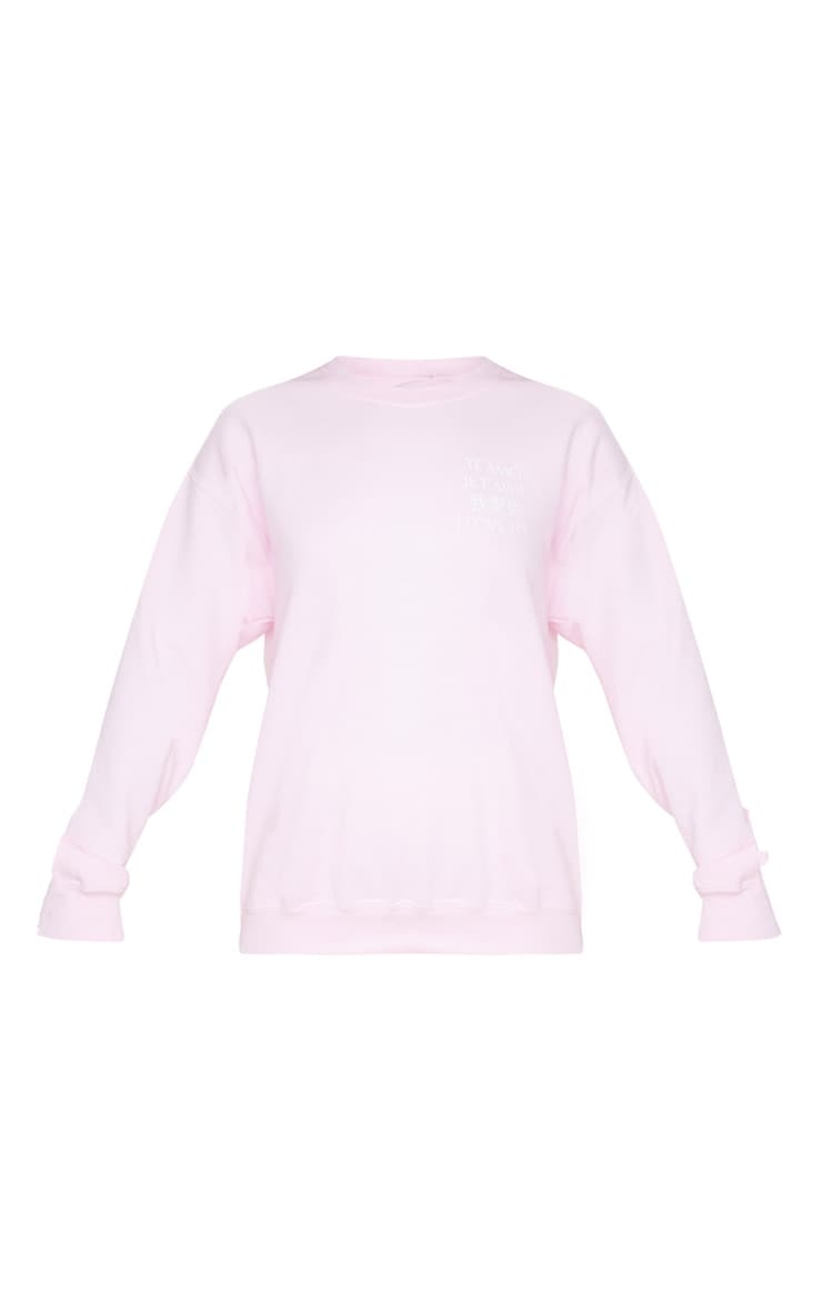 Baby Pink I Love You Slogan Oversized Sweater 3