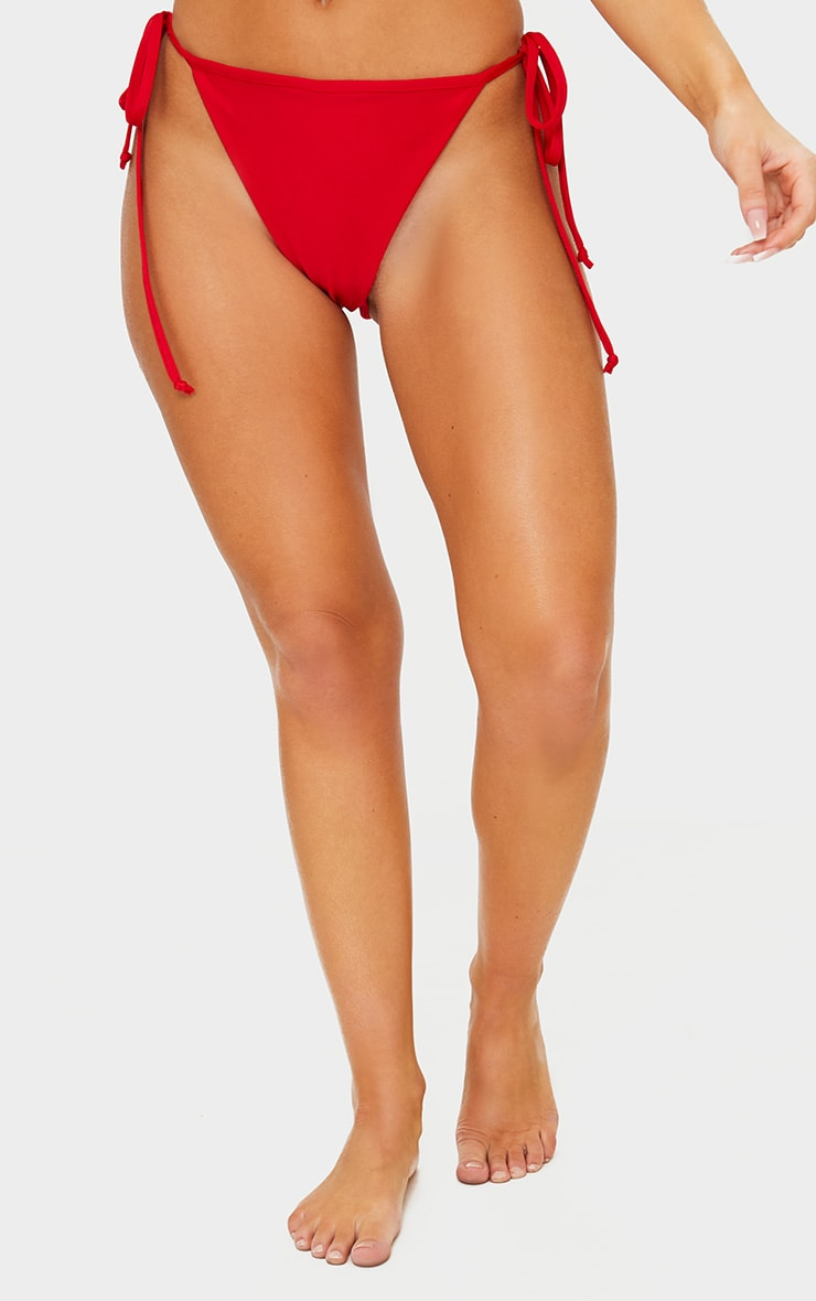Red Mix & Match Adjustable Tie Side Bikini Bottom 2