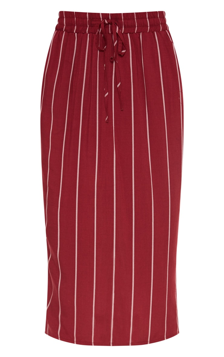 Maroon Casual Midi Skirt 3