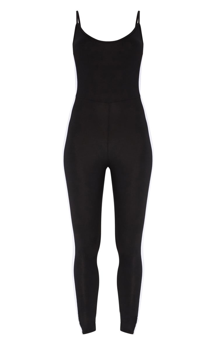 Black Strappy Side Stripe Jumpsuit 3