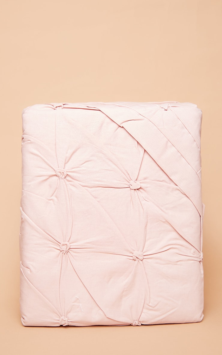 Dusty Pink Ruched Pin Tuck Super King Duvet Set 3