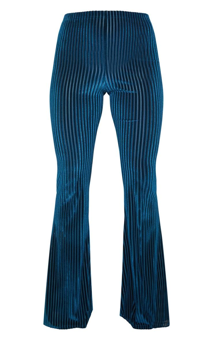 Teal Velvet Striped Flare Pants 3