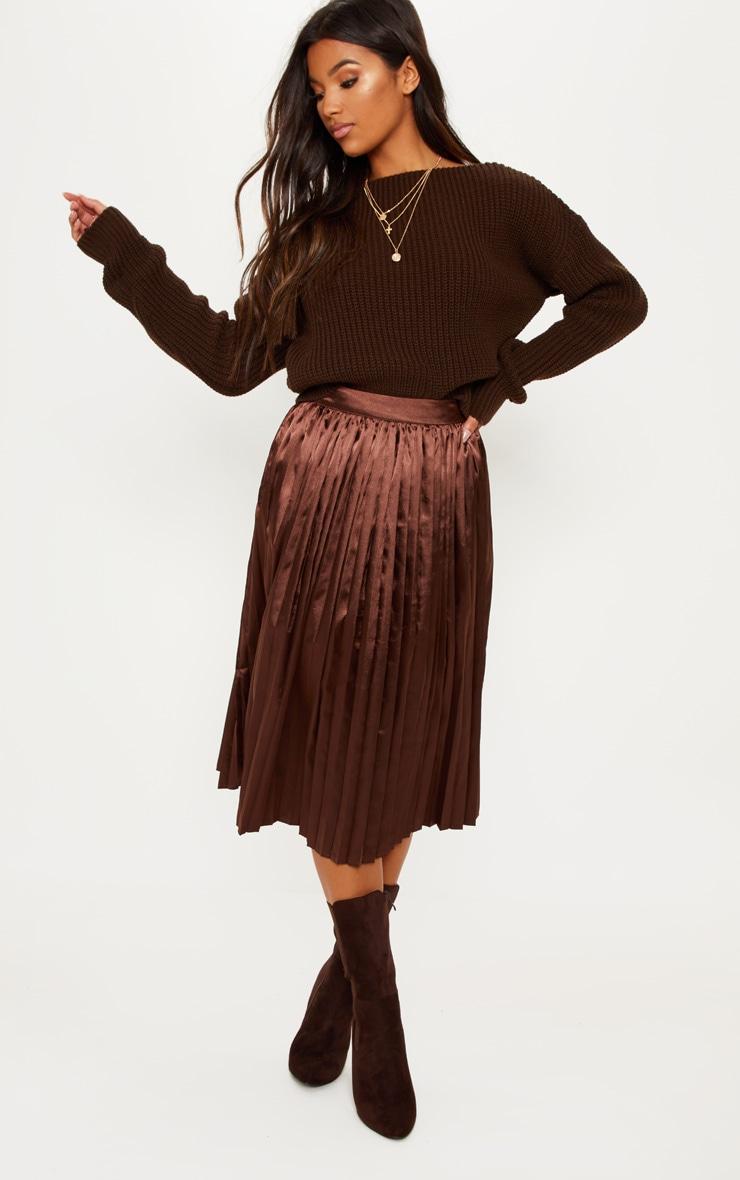 0fdf65d8d762 Jupe mi-longue plissée satinée marron chocolat image 1