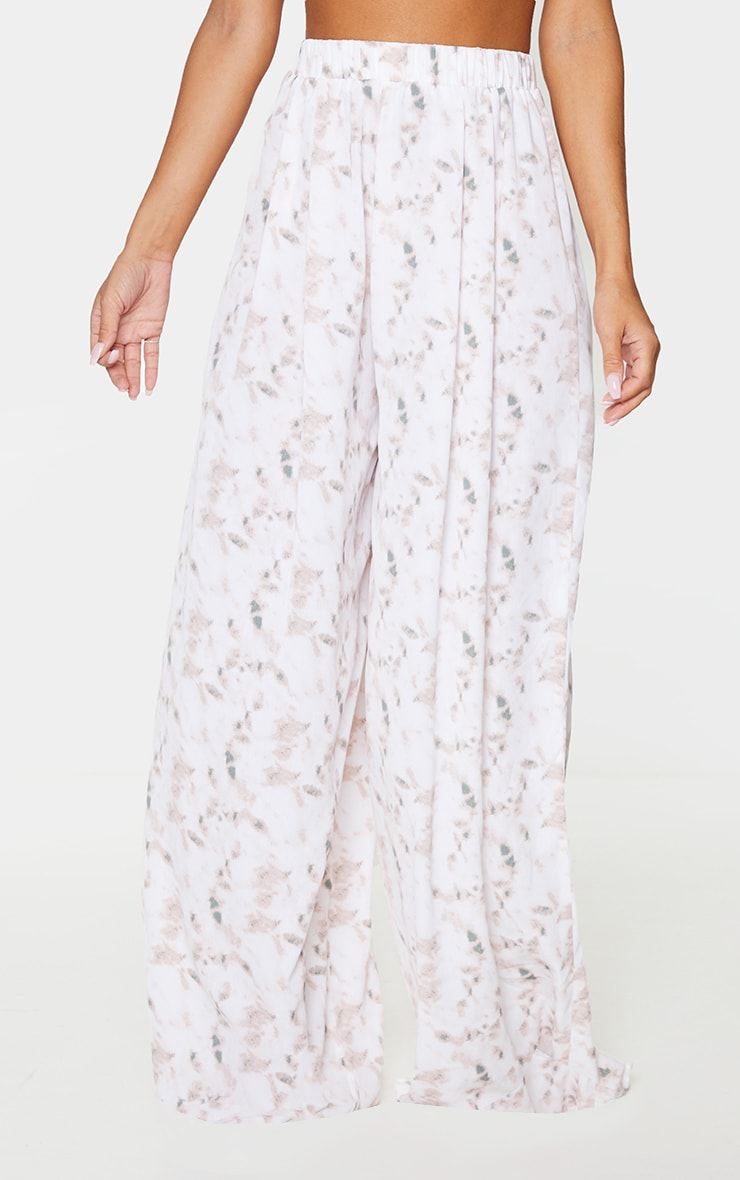 Light Pink Tie Dye Print Wide Leg Trousers 2