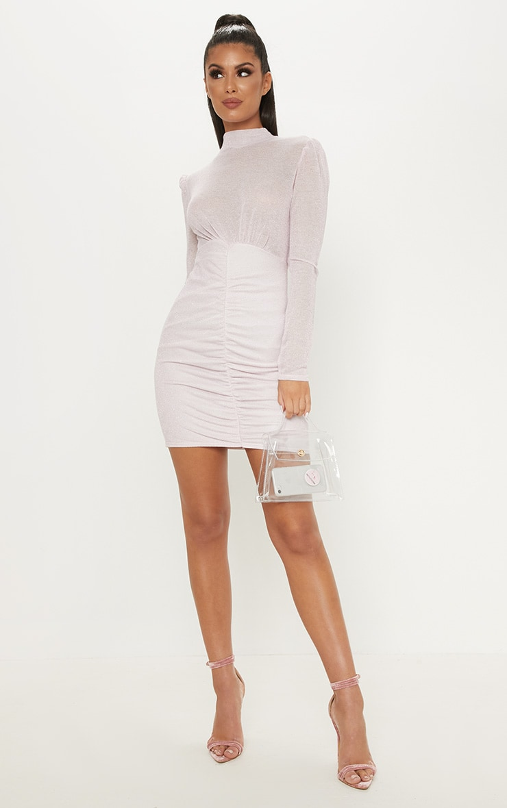 Pink Sheer Glitter Open Back Ruched Bodycon Dress 4