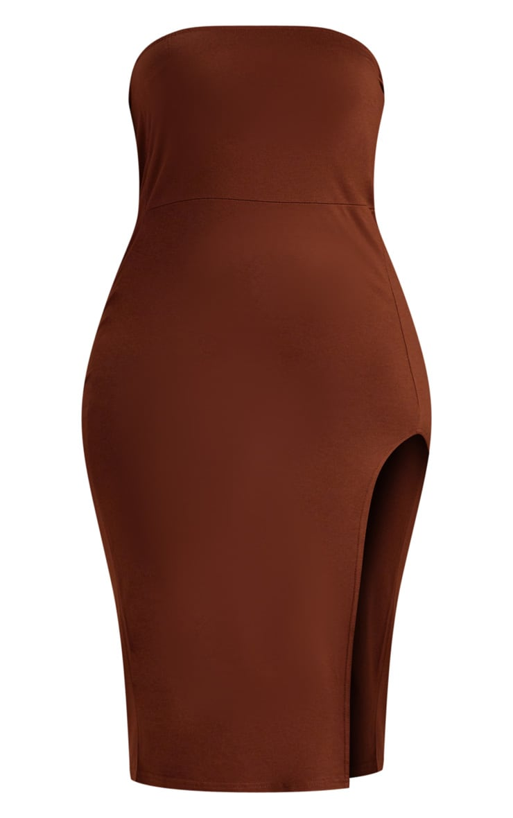 Plus Chocolate Brown Bandeau Split Front Midi Dress 3
