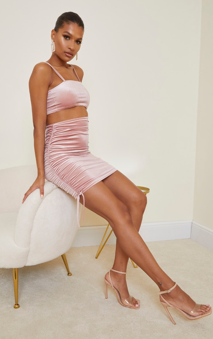 Rose Velvet Cut Out Ruched Skirt Bodycon Dress 3