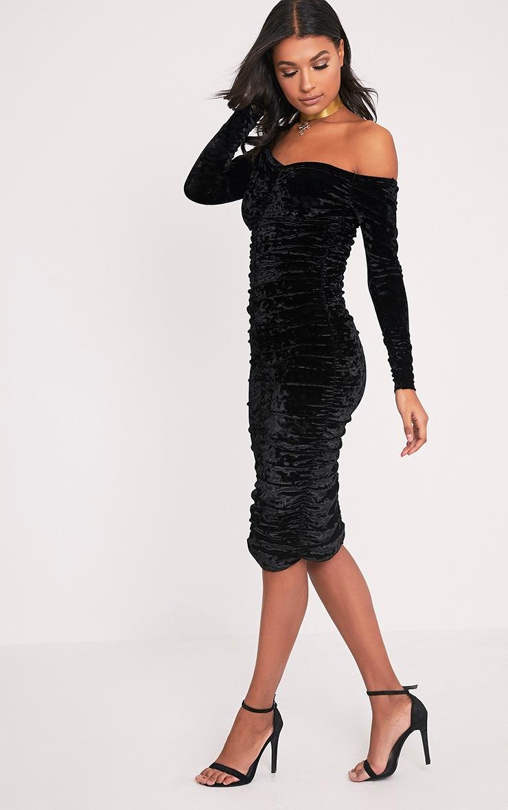 Effie Black Bardot Ruched Midi Dress 5