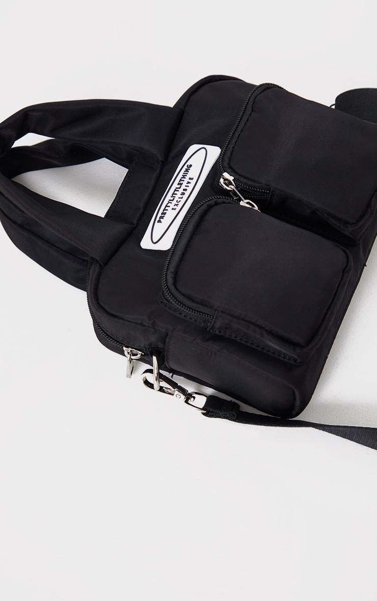 PRETTYLITTLETHING Nylon Black Double Front Pocket Cross Body Bag 3