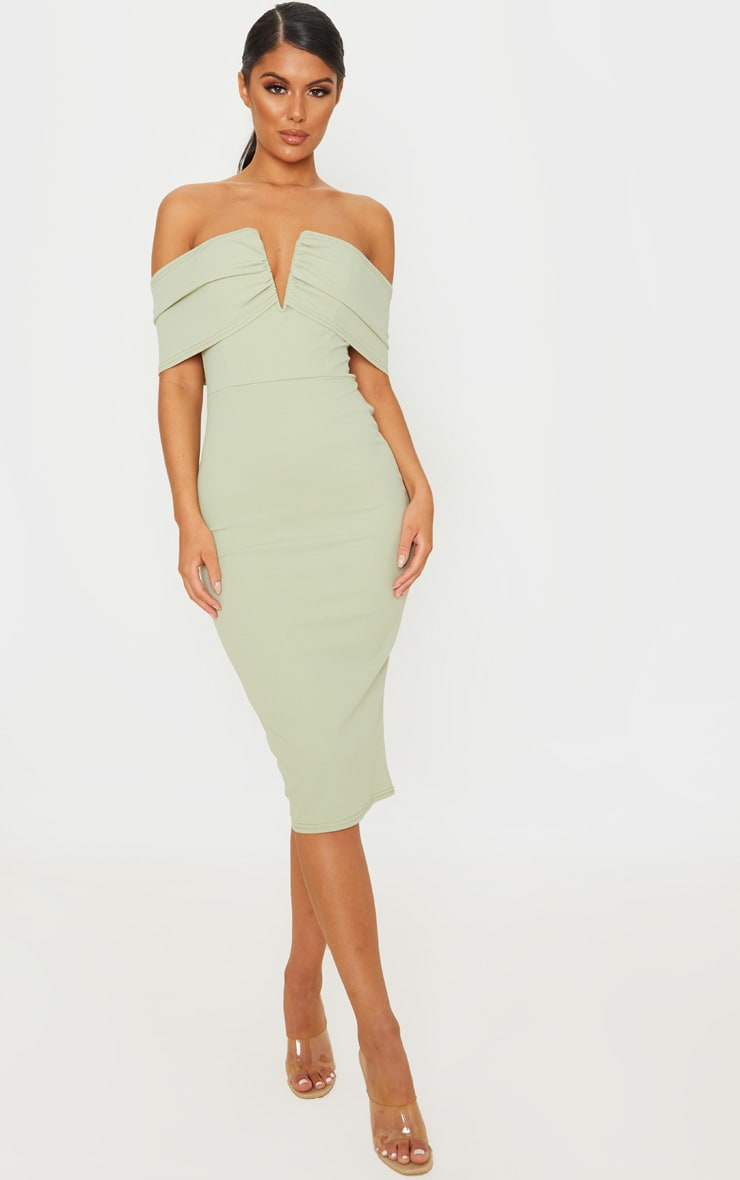 Sage Green V Bar Bardot Midi Dress 1