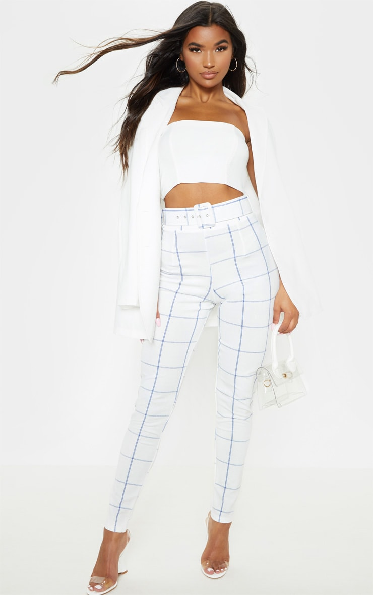 White-Navy Check Belted Waist Skinny Pants 1