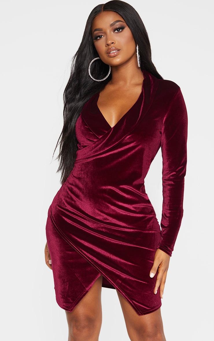 Shape - Robe blazer bordeaux en velours  1