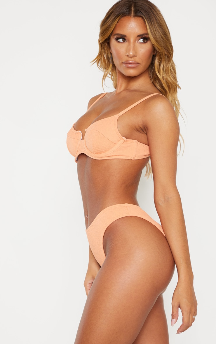 Peach Mini Crinkle Bikini Bottom 2